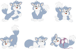 Beeldverhaal blauw katje Stock Afbeeldingen