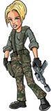 Beeldverhaal blonde vrouwelijke militair met een submachinegeweer Stock Afbeeldingen
