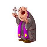 Beeldverhaal boze katholieke priester Royalty-vrije Stock Fotografie