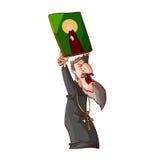 Beeldverhaal boze oostelijke orthodoxe priester of monnik Stock Afbeeldingen