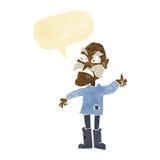 beeldverhaal boze oude mens in herstelde kleding met toespraakbel Stock Foto's