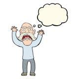 beeldverhaal boze oude mens met gedachte bel Stock Afbeelding