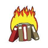 beeldverhaal brandende boeken Royalty-vrije Stock Afbeeldingen