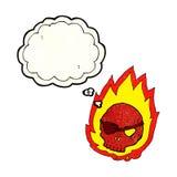 beeldverhaal brandende schedel met gedachte bel Stock Afbeelding