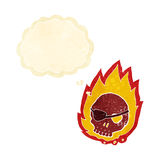 beeldverhaal brandende schedel met gedachte bel Royalty-vrije Stock Afbeeldingen
