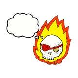 beeldverhaal brandende schedel met gedachte bel Royalty-vrije Stock Fotografie