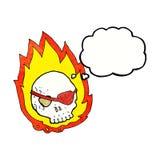 beeldverhaal brandende schedel met gedachte bel Stock Foto's