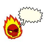 beeldverhaal brandende schedel met toespraakbel Stock Afbeeldingen