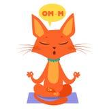 Beeldverhaal Cat Practicing Yoga Treed in Yogazitting toe De Mewest-Oefening stock illustratie