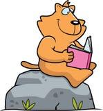 Beeldverhaal Cat Reading Royalty-vrije Stock Afbeelding