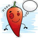 Beeldverhaal Chili Pepper Dreaming stock illustratie