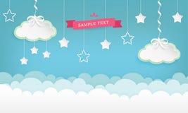 Beeldverhaal cloudscape achtergrond met sterren Wolken met satijnlint en boog Royalty-vrije Stock Afbeelding