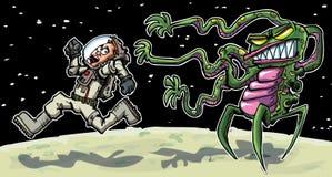 Beeldverhaal dat astronaout van een vreemdeling loopt Stock Afbeelding