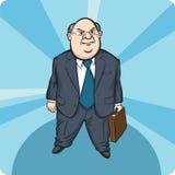 Beeldverhaal dat vette zakenman bevindt zich Royalty-vrije Stock Afbeeldingen