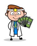 Beeldverhaal de Jonge Illustratie van Artsenshowing cash vector vector illustratie