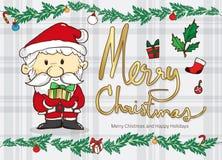 Beeldverhaal de Kerstman en blad online achtergrond, vector en doodl vector illustratie