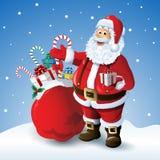 Beeldverhaal de Kerstman met een zak van speelgoed vooraan de winterachtergrond Royalty-vrije Stock Foto