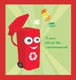 beeldverhaal die een grappige recyclingsbak vertegenwoordigen Stock Afbeelding
