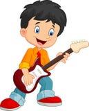 Beeldverhaal die gelukkig terwijl het houden van een gitaar zingen royalty-vrije illustratie
