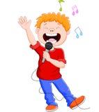 Beeldverhaal die gelukkig terwijl het houden van mic zingen vector illustratie