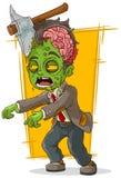 Beeldverhaal die groene zombie met bijl lopen Stock Afbeelding