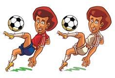 Beeldverhaal die van grappige keeper bal vangen Stock Afbeelding