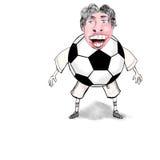 Beeldverhaal die van grappige keeper bal vangen Royalty-vrije Stock Foto's