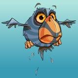 Beeldverhaal die verbaasde ongebruikelijke vogel met een grote bek vliegen royalty-vrije illustratie