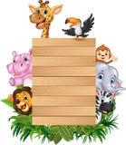 Beeldverhaal dierlijk Afrika met houten teken Royalty-vrije Stock Foto