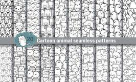 Beeldverhaal dierlijke naadloze patronen Royalty-vrije Stock Afbeelding