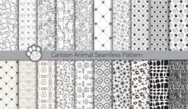 Beeldverhaal dierlijke naadloze patronen, inbegrepen patroonmonsters Stock Afbeelding