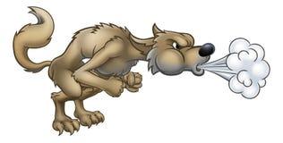 Beeldverhaal Drie Kleine Varkens Groot Slecht Wolf Blowing stock illustratie