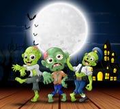 Beeldverhaal drie zombieviering een Halloween-partij in in openlucht stock illustratie