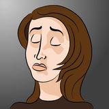 Beeldverhaal Droevige Gedeprimeerde Vrouw Royalty-vrije Stock Afbeelding
