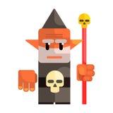 Beeldverhaal dwergholding een personeel met een schedel Sprookje, fantastisch, magisch kleurrijk karakter Stock Foto