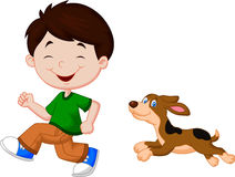 Beeldverhaal een jongen die met zijn huisdier lopen Royalty-vrije Stock Foto