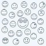 Beeldverhaal emotionele gezichten, vastgestelde uitgedrukte strippagina Stock Afbeelding