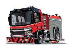 Beeldverhaal firetruck dat op witte achtergrond wordt geïsoleerde vector illustratie