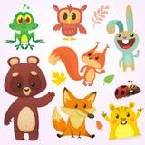 Beeldverhaal Forest Animals Set Vector illustratie Grote reeks van illustratie van beeldverhaal de bosdieren royalty-vrije illustratie