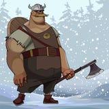 Beeldverhaal forse mens in de kleren van Viking met een bijl in een sneeuwbos royalty-vrije illustratie