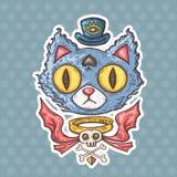 Beeldverhaal geheimzinnige kat stock illustratie