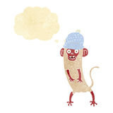 beeldverhaal gekke aap met gedachte bel Stock Foto's