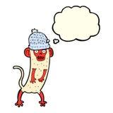 beeldverhaal gekke aap met gedachte bel Stock Afbeelding