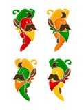 Beeldverhaal gekleurde geplaatste de karakterspictogrammen van de Spaanse peperpeper royalty-vrije illustratie