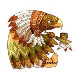 Beeldverhaal gekleurde karakter Amerikaanse adelaar in traditioneel Indisch nationaal kostuum royalty-vrije illustratie