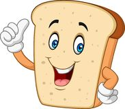 Beeldverhaal gelukkig gesneden brood die duim opgeven stock illustratie