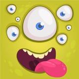 Beeldverhaal gelukkig grappig vreemd karakter met vele ogen Vectorillustratie van vreemd gezicht Monstermasker royalty-vrije stock foto
