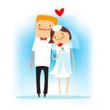 Beeldverhaal gelukkig huwelijk Royalty-vrije Stock Afbeeldingen