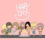 Beeldverhaal gelukkige dag Royalty-vrije Stock Afbeelding