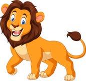 Beeldverhaal gelukkige die leeuw op witte achtergrond wordt geïsoleerd vector illustratie